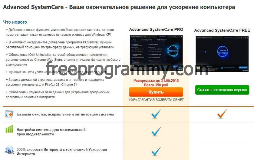 Screenshots 1 Advanced SystemCare PRO и Advanced SystemCare Free